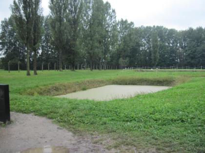 A pond where ashes from the crematorium were dumped