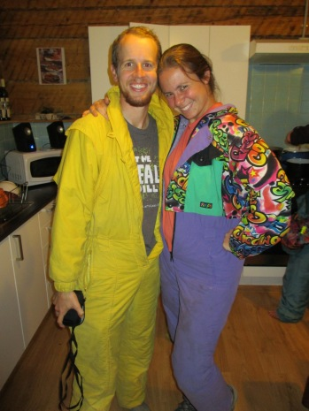 """There was a """"onesie party"""" with the collection of brightly colored ski suits they have"""