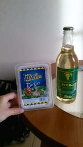 Tzatziki and retsina (Greek wine_