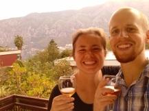 Enjoying wine on the balcony