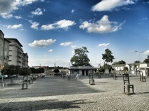 Memorial outside the Jewish Ghetto. Each chair represents 1000 people killed.