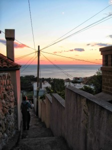 Catching the sunset from the stairs near our place
