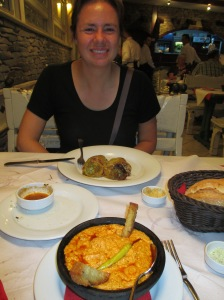Enjoyinga meal at Era of stuffed peppers and fërgesë (a local specialy that is a ricotta-like cheese mixed with tomotoes, meat, and spices)