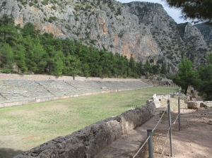 The remains of the stadium from the Pythian Games