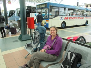 "At the Pirgos bus station... we spent so much time here that we probably should have listed it under ""Where We Stayed"""