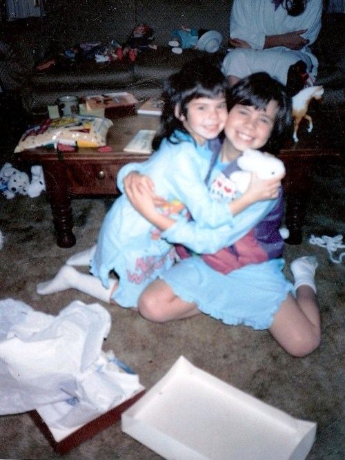 Della celebrates Christmas with her sister circa 1993