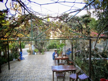 The patio at the Eucalyptus Hotel