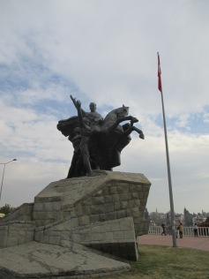 A statue of Attaturk, commerating the founding of modern Turkey