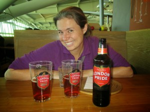 Enjoying a flavorful beer in the London airport... exciting after a few months of uninspiring brews!
