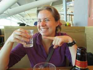 Enjoying a FREE tap water at a restaurant at Heathrow