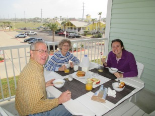 Enjoying breakfast on the large balcony