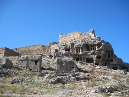 Distinctive Lycian rock tombs and sarcophogi