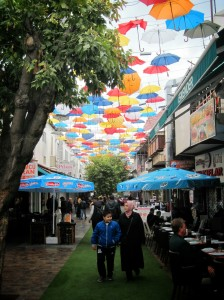 The restaurant row under the colorful umbrellas