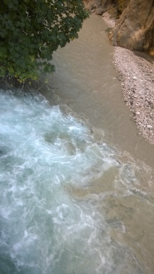 The clear blue spring water meets the river water from upstream