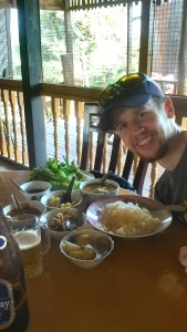 Eric's curry came with a lot of side dishes
