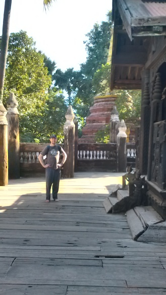 Exploring the temple in our bare feet