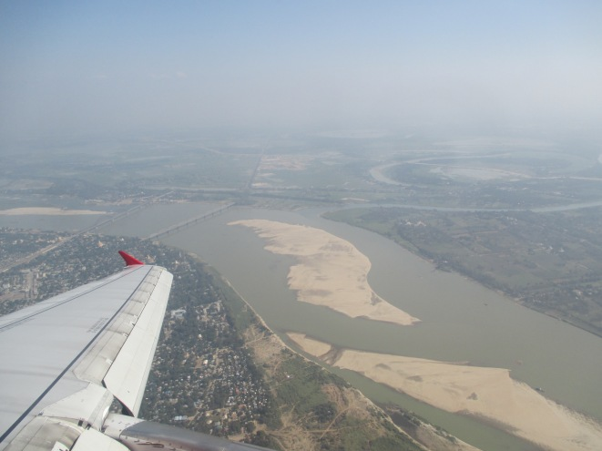 Flying over the Ayerawaddy River on the way into MDL