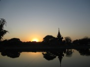 Sunset over the palace walls and moat
