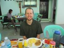 Enjoying a different breakfast