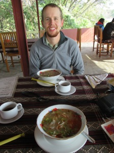 Shan Noodle soup in the front with Mohinga in front of Eric