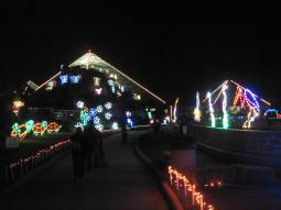 The pyramids of Moddy Gardens illuminated for the event