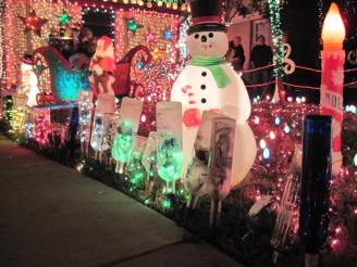 Close up of decorations on the same house