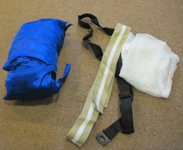 Sleeping sheet, belts, laundry bag