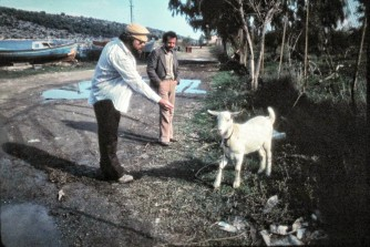 Wayne and a goat in Greece