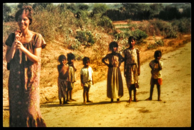 Peggy as the Pied Piper in rural India