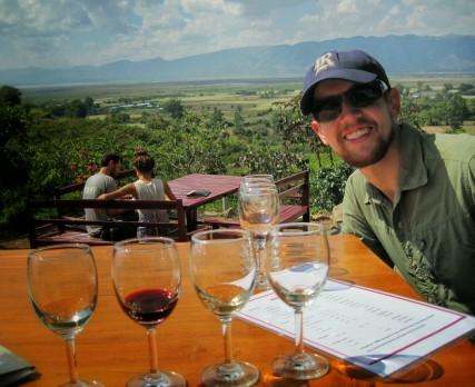 enjoying the wine
