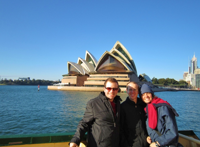 The three of us on the ferry to Manly Beach with the Sydney Opera House behind