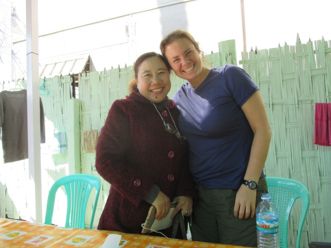 "Della with ""Mama"" - the head of our amazing guesthouse - Yoe Yoe Lay"