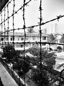 The corridors were protected with barbed wire to prevent people from trying to commit suicide by jumping from the building