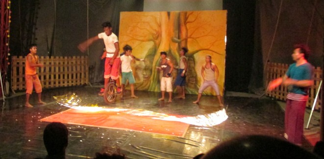 Jumping a burning rope on a unicycle...!