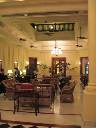 The lobby of the Strand Hotel