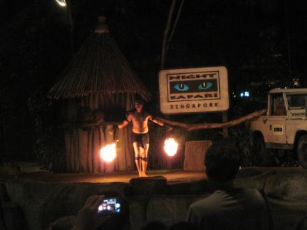 Fire dancers at the entrance