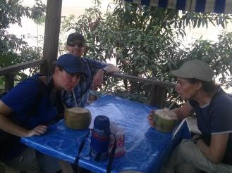 Enjoying our coconut