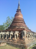 Elephants ring the base of this chedi
