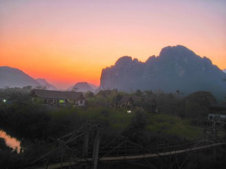 Lovely sunset over the mountains surrounding Vang Vieng