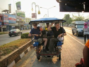The tuk-tuks in Sukhothai were a different style than we had seen before
