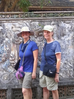 In front of nice carvings