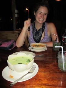 Green and panang curries at The Hut