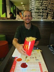 Our first McDonald's fries in Thailand