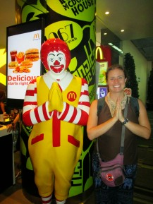 Ronald McDonald performing the traditional Thai greeting