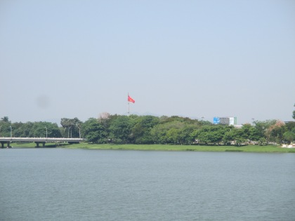 The large flags marks the entrance to the citadel across the Perfume River