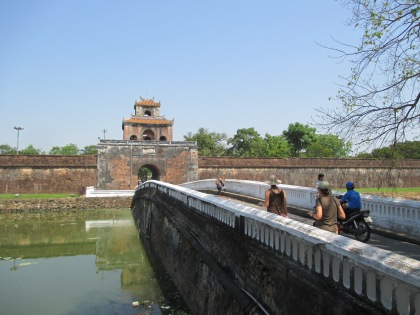 Crossing the moat that surrounds the outer wall and gate to the ciitadel