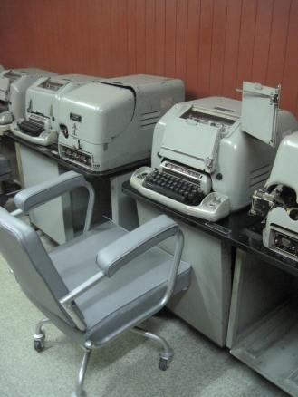 Old typewriters in the basement bunker