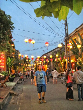 The lanterns lining the street provide great colors at night
