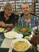 cau lau in front and Eric got eggplant grilled in a banana leaf with lemongrass