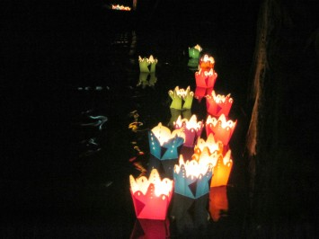 Paper lanterns on the river